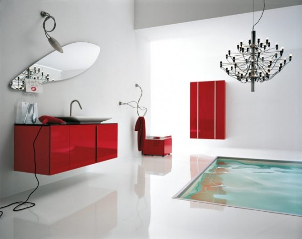 einzelmöbel in rot badezimmer gestaltungsideen