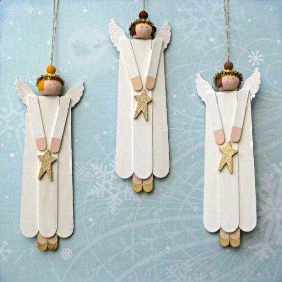 eisstiel engel basteln christbaumschmuck