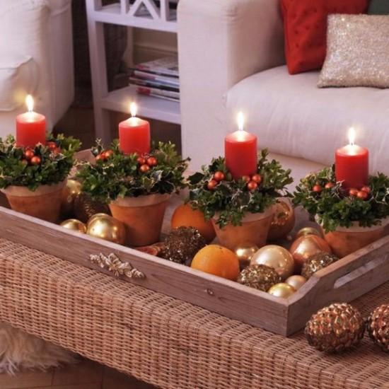 eleganten adventskranz selber basteln auf servierbrett