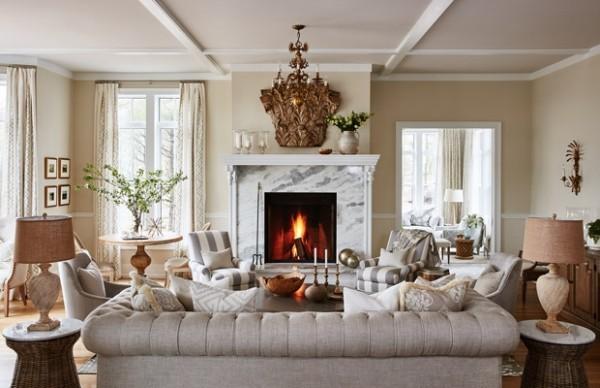 elegantes Wohnzimmer in Grau