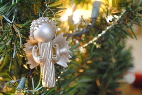 engel basteln mit nudeln zu weihnachten