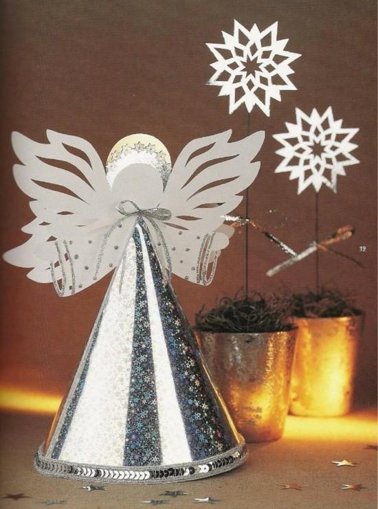 engel basteln mit papier und pailletten