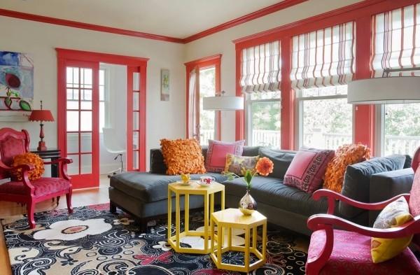 farben wohnzimmer akzente in rot und rosa