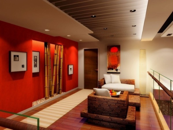 farben wohnzimmer bambus deko vor roten tapeten