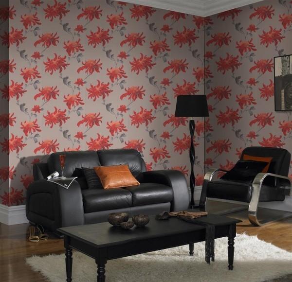farben wohnzimmer große roten pflanzenmuster