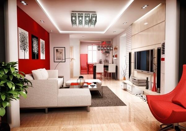 farben wohnzimmer mehrere roten akzente