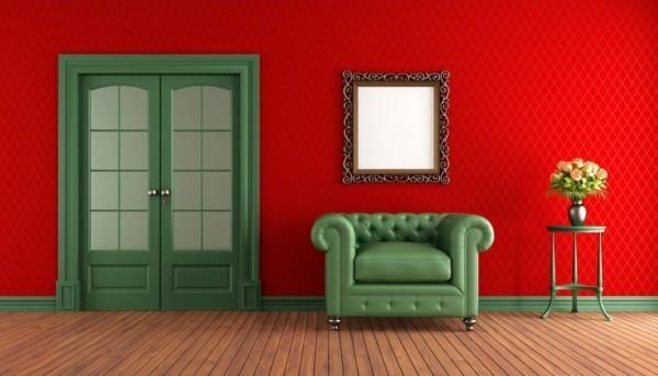 farben wohnzimmer rot grüne kontraste