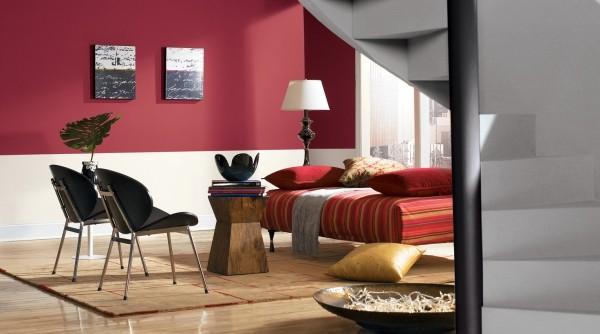 farben wohnzimmer rot weiße wand halb halb
