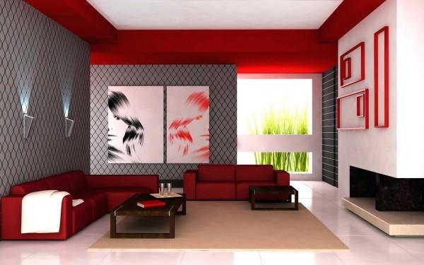 farben wohnzimmer rote möbel und deckenelemente