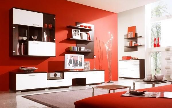 farben wohnzimmer rote rahmen