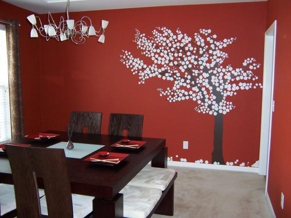 farben wohnzimmer wandtattoo auf rotem hintergrund