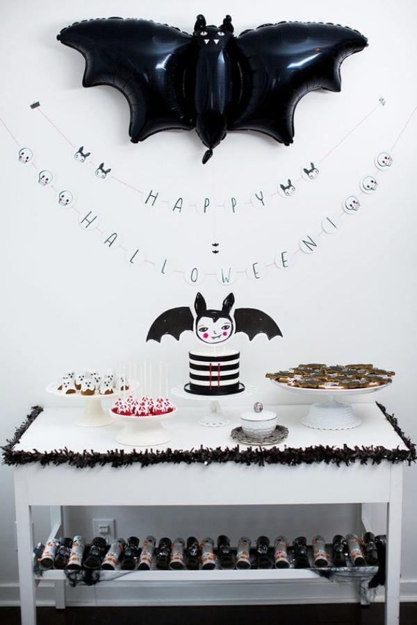 federmäuse für die party halloween deko