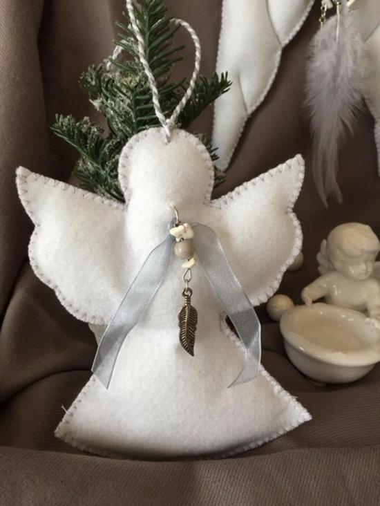 filzstoff engel basteln als weihnachtsdeko