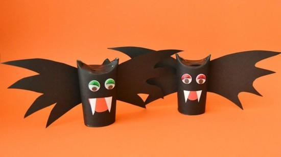 fledermäuser halloween ideen basteln mit klorollen