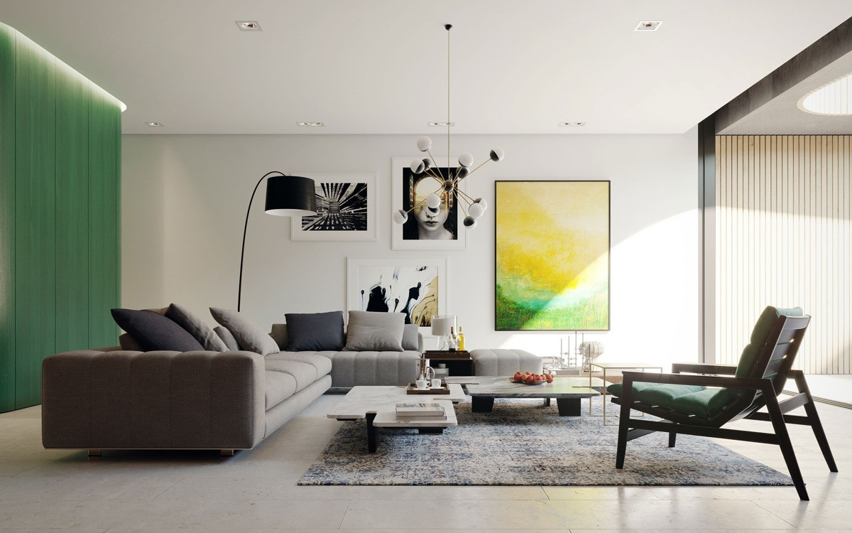 gardinen und kustwerk in grünen wohnzimmer farben