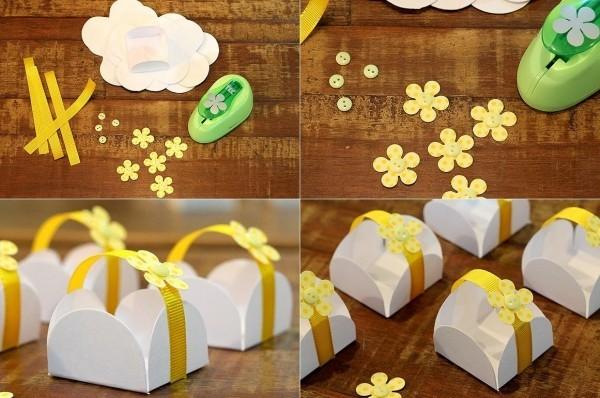gelbe bänder und blumen geschenkpapier