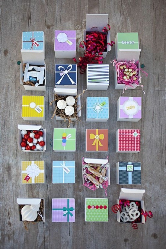 geschenkboxen ausgefallene adventskalender selber basteln