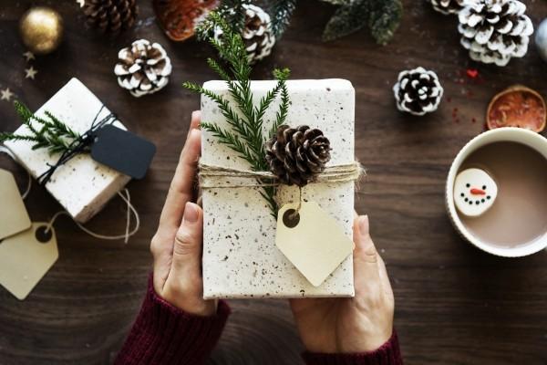 geschenkpapier eichel und nadelbaumzweige