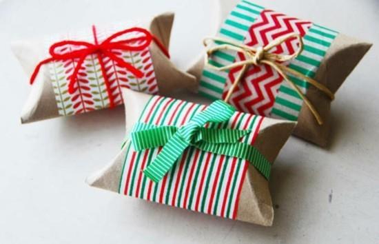 geschenkverpackung basteln mit klorollen zu weihnachten