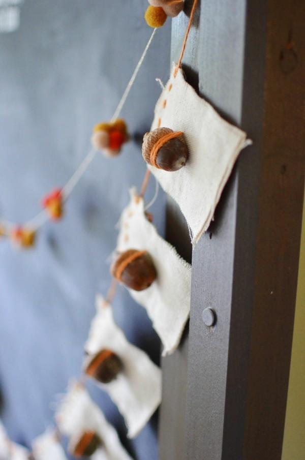 girlande basteln mit eicheln