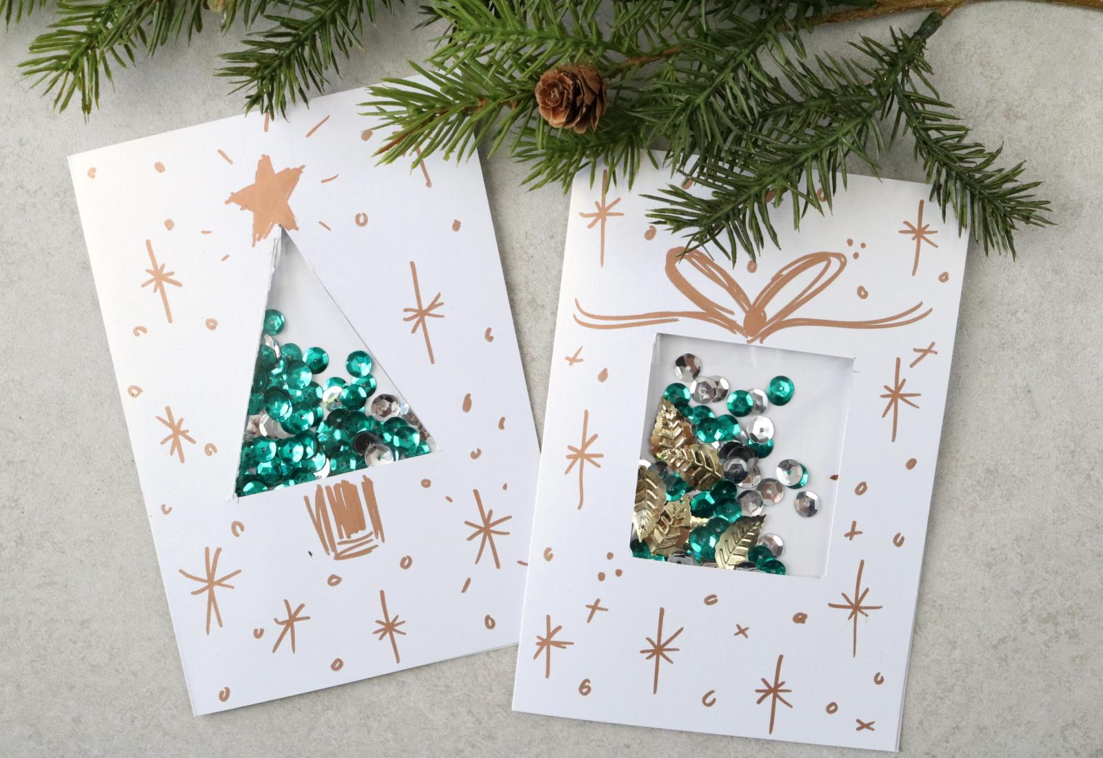 glanzvolle teile weihnachtskarten basteln