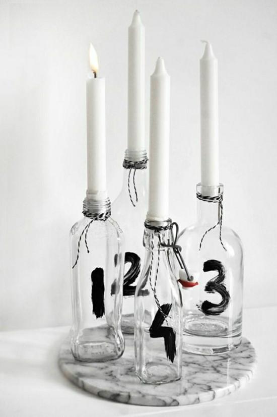 glasflaschen adventskranz selber basteln