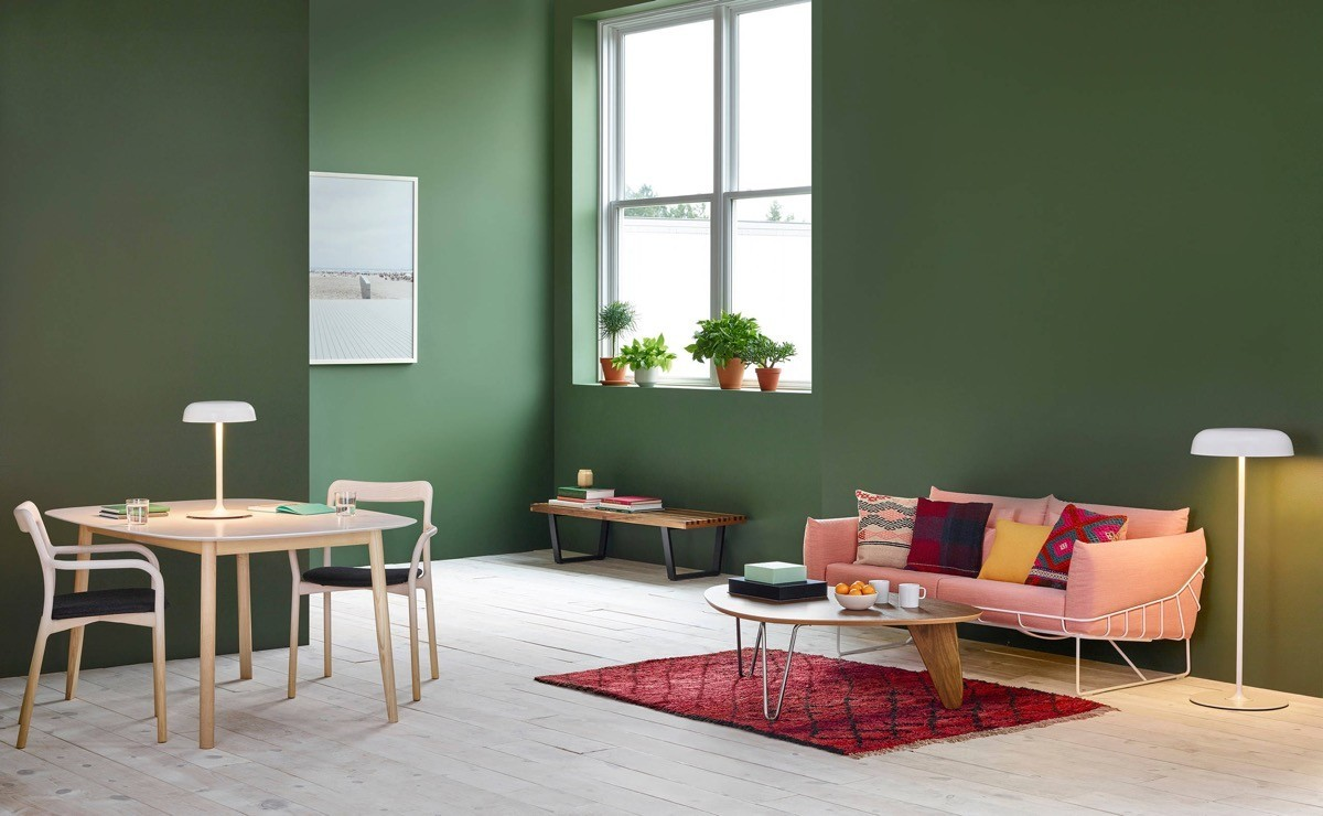 Moderne Wohnzimmer-Farben - Trendge Einrichtungsideen in Grün und Rot
