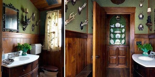 grün und dunkles braun als holz badezimmergestaltung