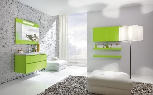 grelle grüne details für die badezimmergestaltung