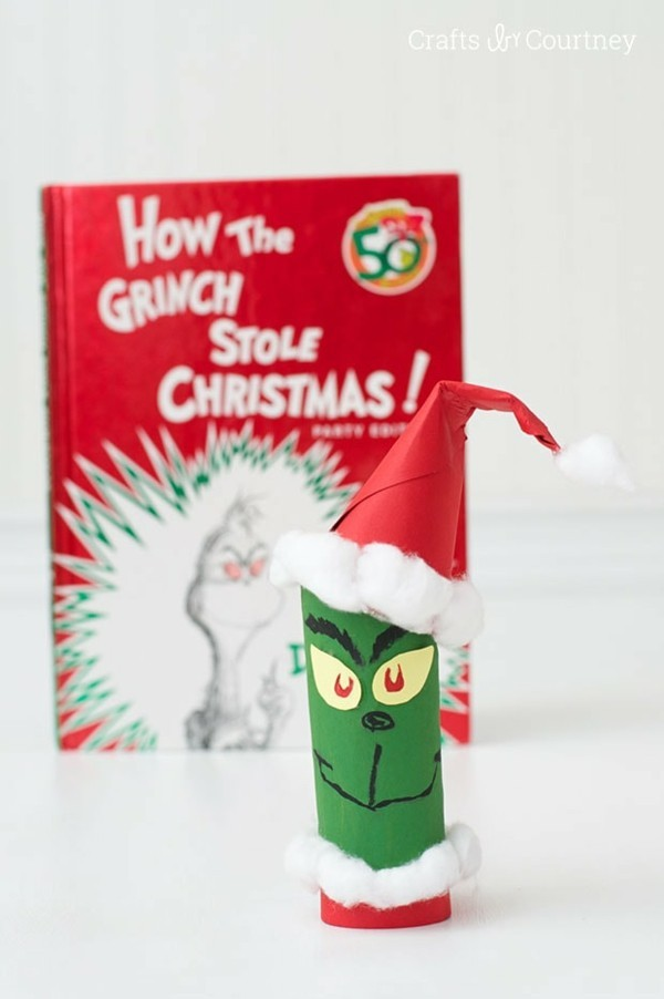 grinch basteln aus klopapierrollen ausgefallene weihnachtsdeko selber machen
