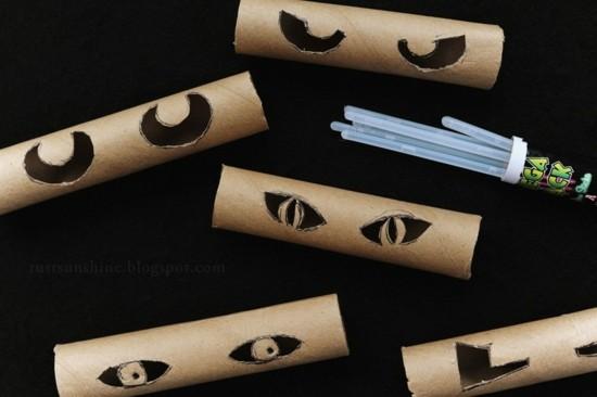 toilet paper roll crafts halloween eyes Rust & Sunshine Glowing Eyes