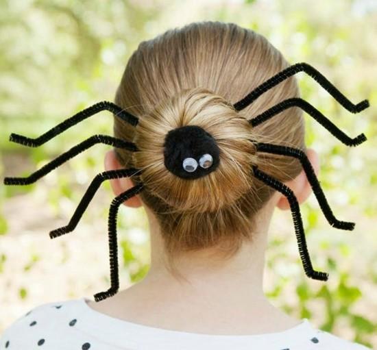 haarschmuck halloween spinne basteln