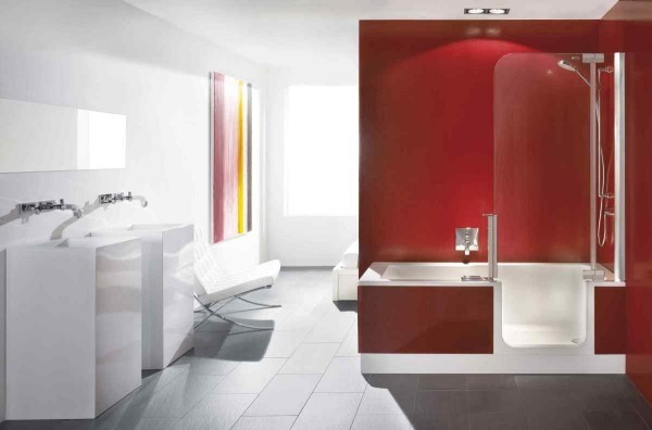 bathroom decor apartment modern Beautiful Contemporary Apartment Red Bathroom Design With White Gloss Vanity