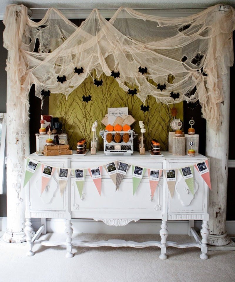 halloween deko spinnen gewebe idee