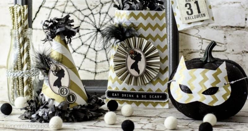 ideen in schwarz weiß halloween deko