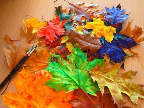 inspirerende Farben basteln mit blättern