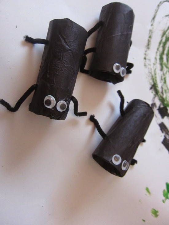 küchenschaben basteln mit klorollen zu halloween