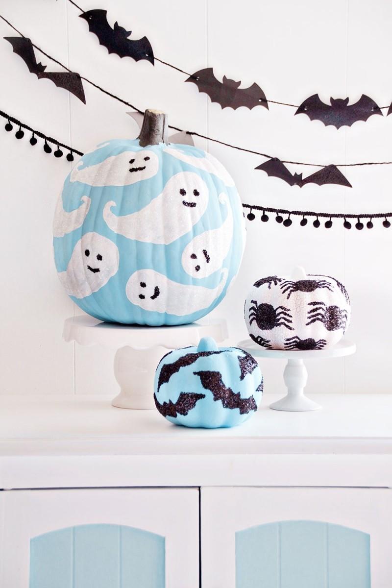 kürbisse mit gespenstern halloween deko