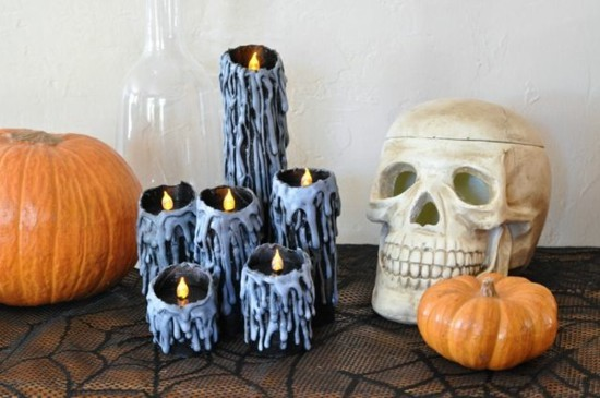 kerzen basteln mit klorollen zu halloween
