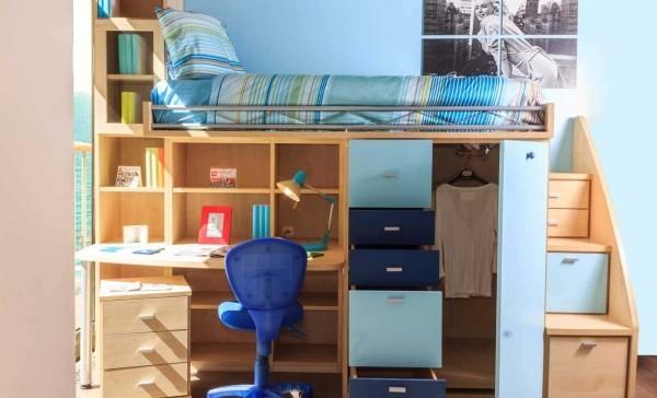 kinderhochbetten braun und blau