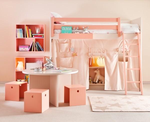 kinderhochbetten moderne rosa farbe