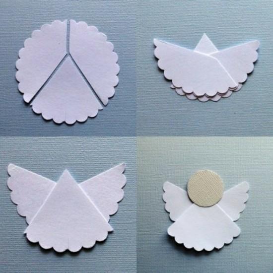 kleine engel basteln aus filzpapier