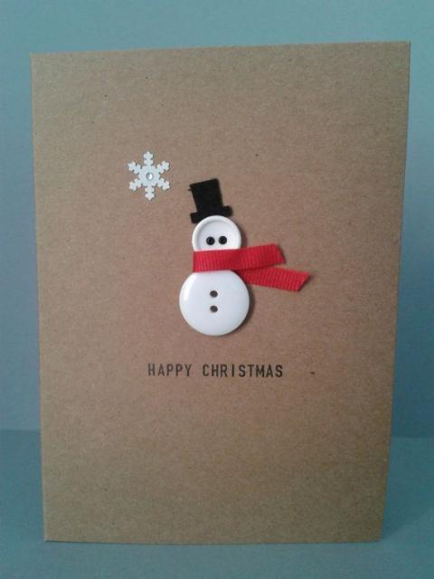 kleiner schneemann weihnachtskarten basteln