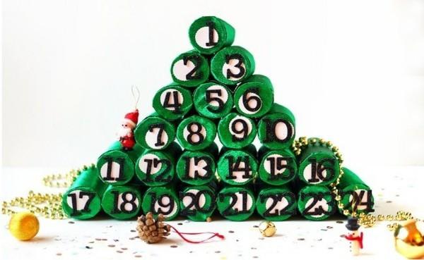 klopapierrollen adventskalender ausgefallene weihnachtsdeko selber machen