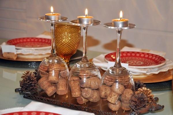 kork und teller und gläser weihnachtenbastelideen
