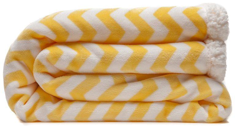 kuscheldecken gelb weißes chevron