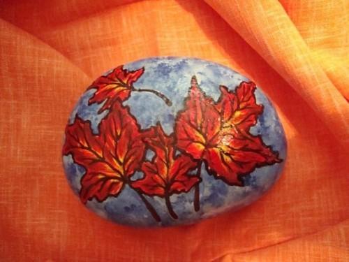 kustvoller stein basteln mit blättern
