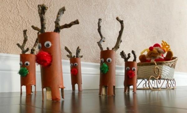 lustige ausgefallene weihnachtsdeko selber machen aus klopapierrollen