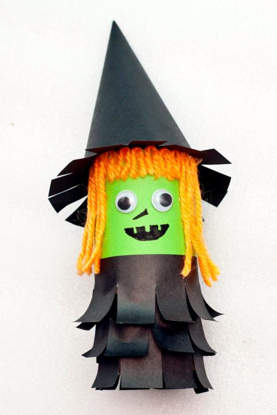 lustige hexe basteln mit klorollen zu halloween