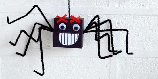lustige schwarze spinne basteln karton